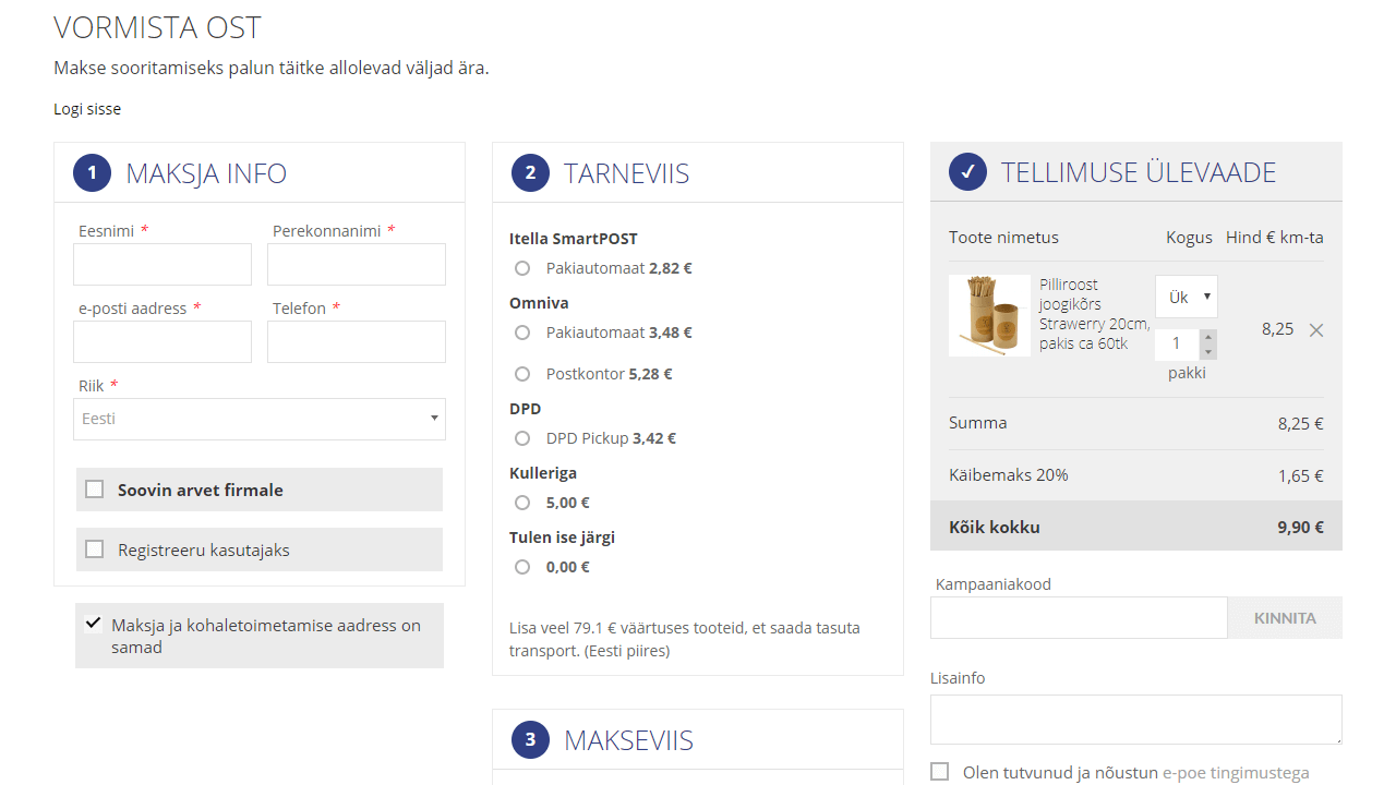 Pakendikeskus checkout kasutajaliides