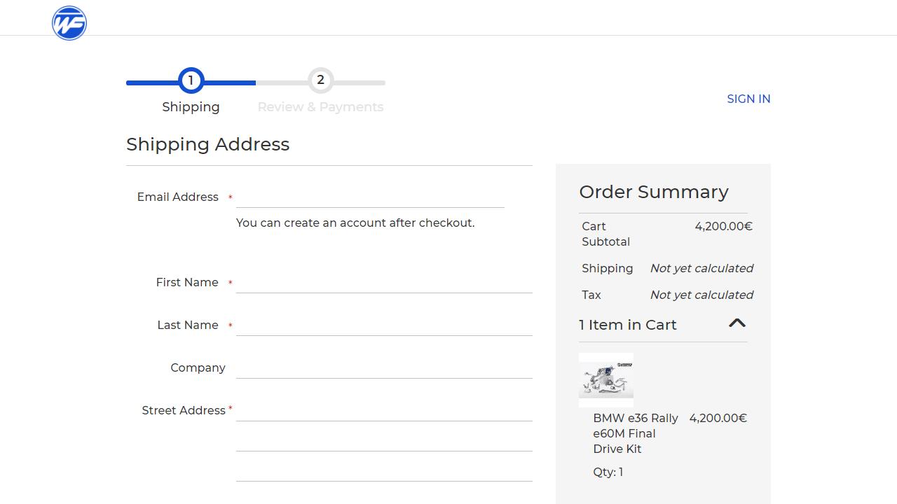 Wisefab checkout kasutajaliides